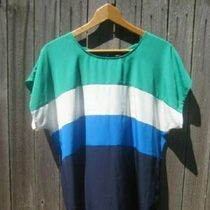 {Vince Camuto} Blue Green White Striped Top